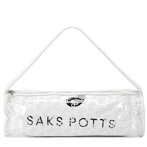 SAKS POTTS White Terry Cloth Beach Towel and case